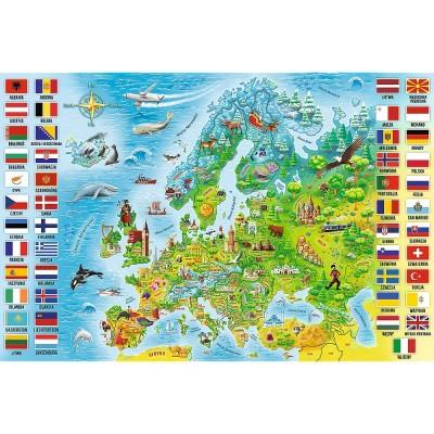 Puzzle  Trefl-15558 Europakarte (auf Polnisch)