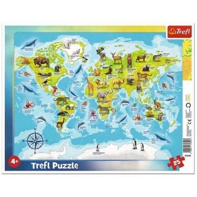 Trefl-31340 Rahmenpuzzle - Tierweltkarte