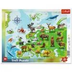 Trefl-31341 Rahmenpuzzle - Karte von Europa Tiere