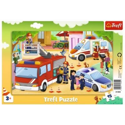 Trefl-31355 Rahmenpuzzle - Notfallfahrzeuge