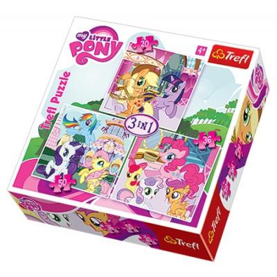 Trefl-34190 3 Puzzles - My Little Pony