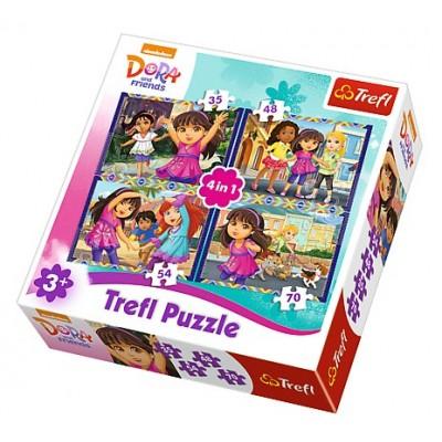 Trefl-34265 4 Puzzles - Dora