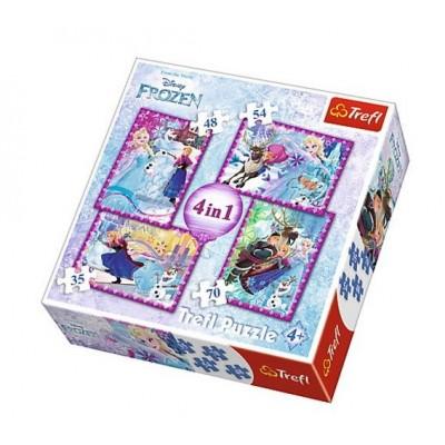 Trefl-34294 4 Puzzles - Frozen