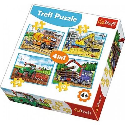 Trefl-34298 4 Puzzles - Fahrzeuge