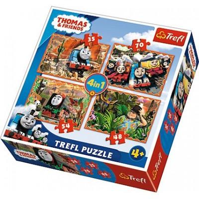 Trefl-34300 4 Puzzles - Thomas & Friends