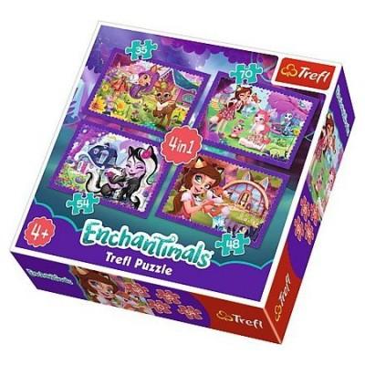 Trefl-34305 4 Puzzles - Enchantimals