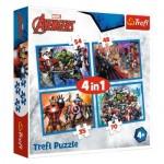 Trefl-34310 4 Puzzles - Marvel Avengers