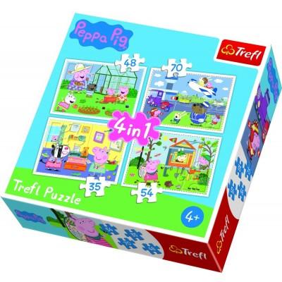 Trefl-34316 4 Puzzles - Peppa Pig