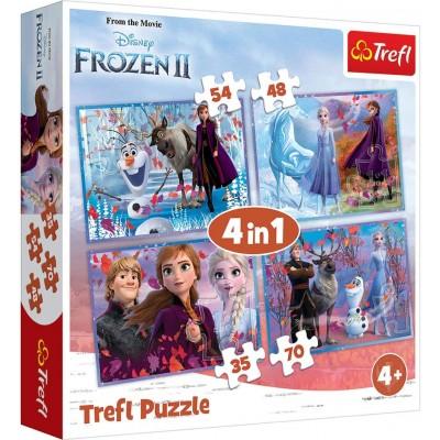 Trefl-34323 4 Puzzles - La Reine des Neiges
