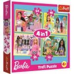 Trefl-34333 4 Puzzles - Barbie