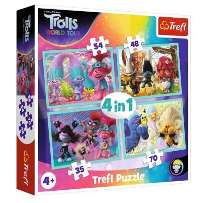Trefl-34336 4 Puzzles - Dreamworks - Trolls World Tour