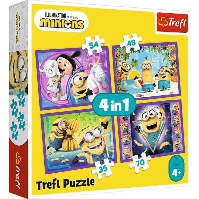 Trefl-34345 4 Puzzles - Minions - Universal Despicable Me 3