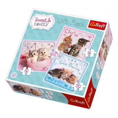 Trefl-34809 3 Puzzles - Sweet & Lovely
