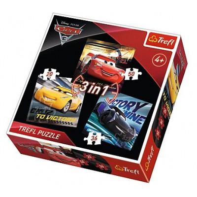 Trefl-34820 3 Puzzles - Cars 3
