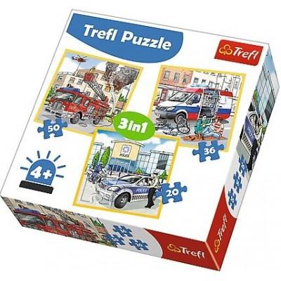 Trefl-34836 3 Puzzles - Notfallfahrzeuge