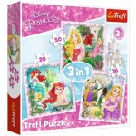 Trefl-34842 3 Puzzles - Disney Princess