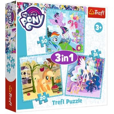 Trefl-34843 3 Puzzles - My Little Pony
