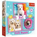 Trefl-34845 3 Puzzles - Hunde