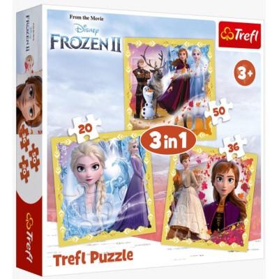 Trefl-34847 3 Puzzles - Frozen 2