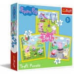 Trefl-34849 3 Puzzles : Peppa's happy day / Peppa Pig