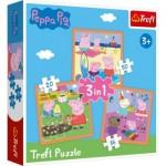 Trefl-34852 3 Puzzles - Peppa Pig