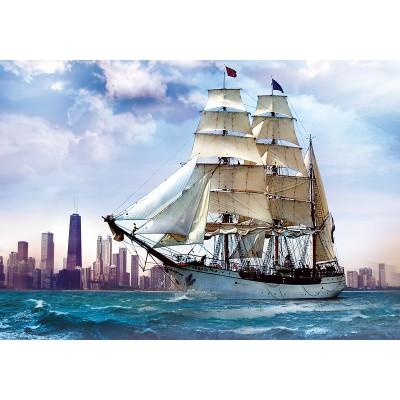 Puzzle Trefl-37120 Segelschiff vor Chicago