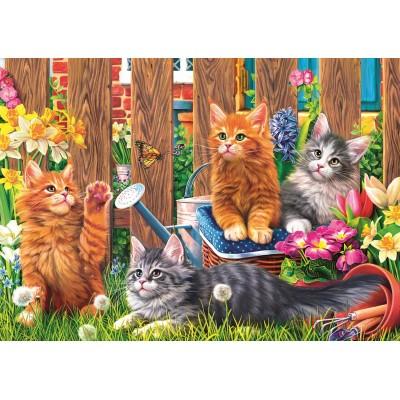 Puzzle Trefl-37326 Kleine Kätzchen im Garten
