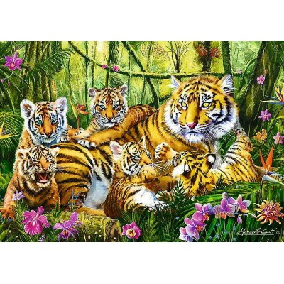 Puzzle Trefl-37350 Die Tigerfamilie
