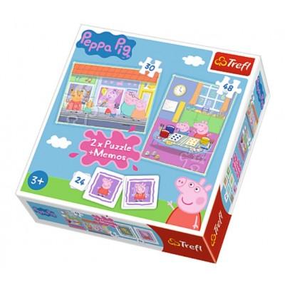 Trefl-90600 2 Puzzles + Memo - Peppa Pig