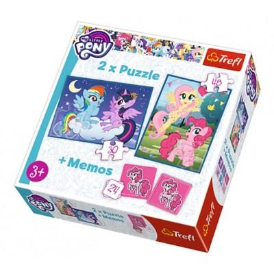 Trefl-90601 2 Puzzles + Memo - My Little Pony