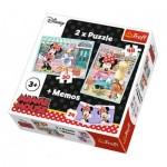 Trefl-90605 2 Puzzles + Memo - Minnie Mouse