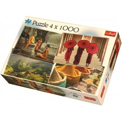 Trefl-90675 4 Puzzles - Asien