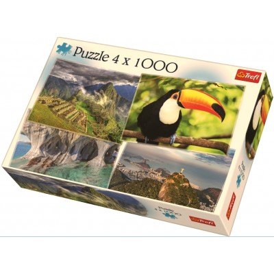 Trefl-90676 4 Puzzles - Südamerika