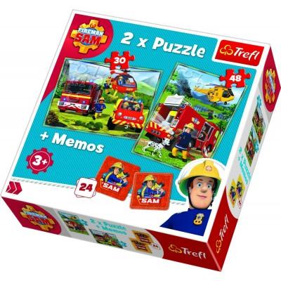Trefl-90791 2 Puzzles + Memo - Fireman Sam