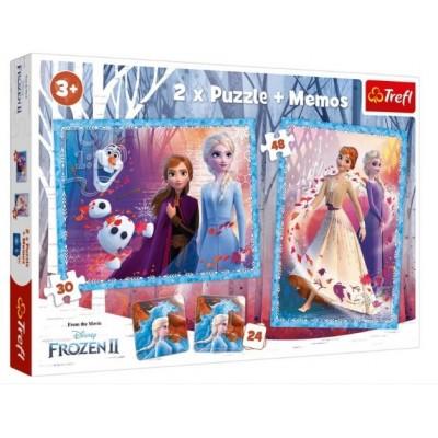 Trefl-90814 2 Puzzles + Memo - Frozen