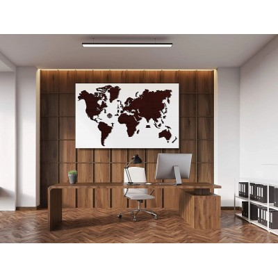 Wooden-City-WM504/2-8244 Holzpuzzle - Weltkarte XL (dunkle Eiche)